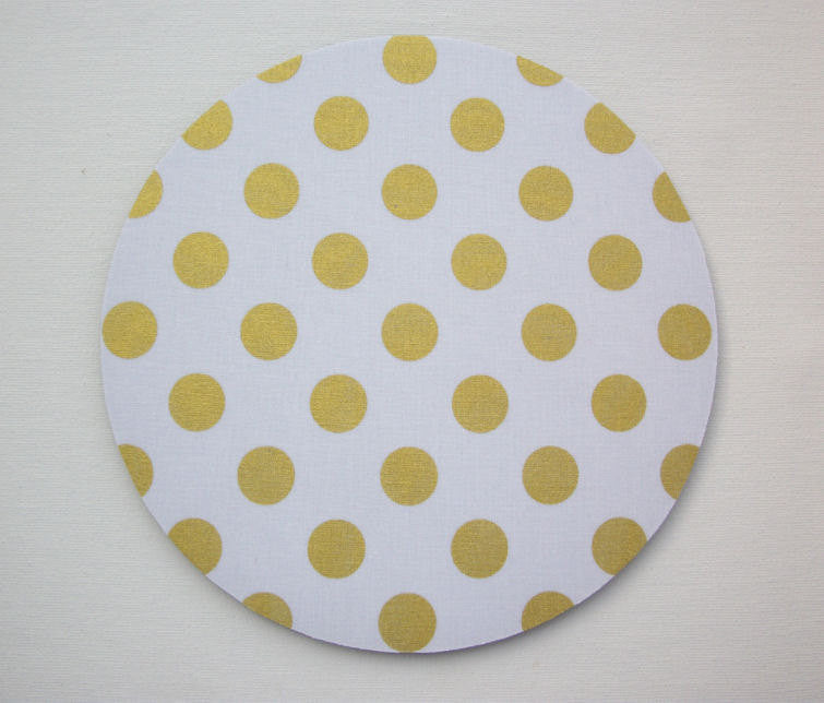 Mouse Pad mousepad / Mat round or rectangle - Shiny big gold polka dots on white - Computer Accessories Custom Desk Coworker Office Gifts - In His Name