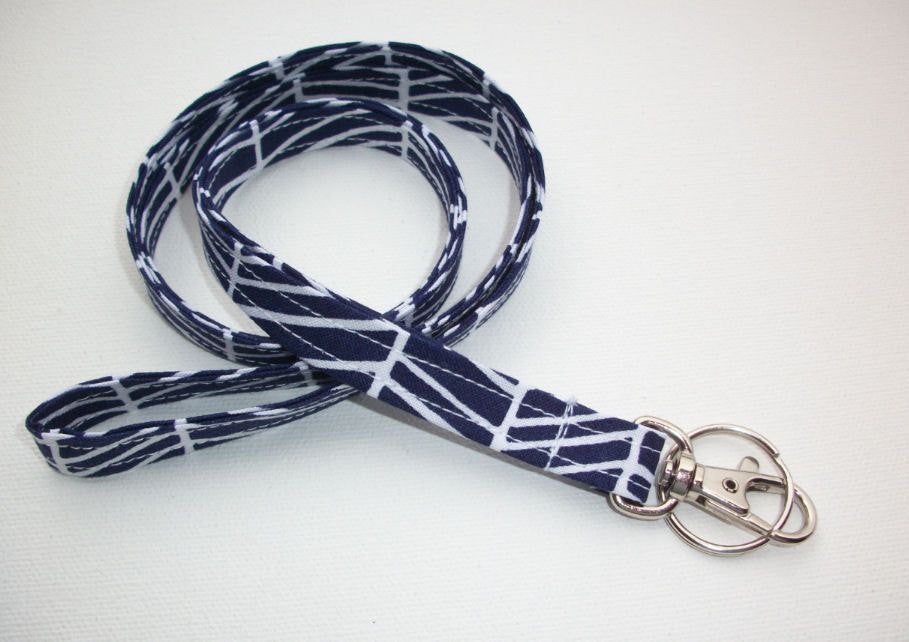 Lanyard ID Badge Holder - navy blue herringbone - Lobster clasp and key ring - In His Name