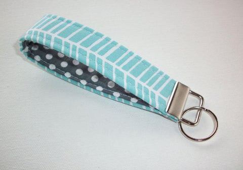 Key FOB / KeyChain / Wristlet key strap - blue aqua herringbone with white polka dots on gray - gift for her under 10 - In His Name