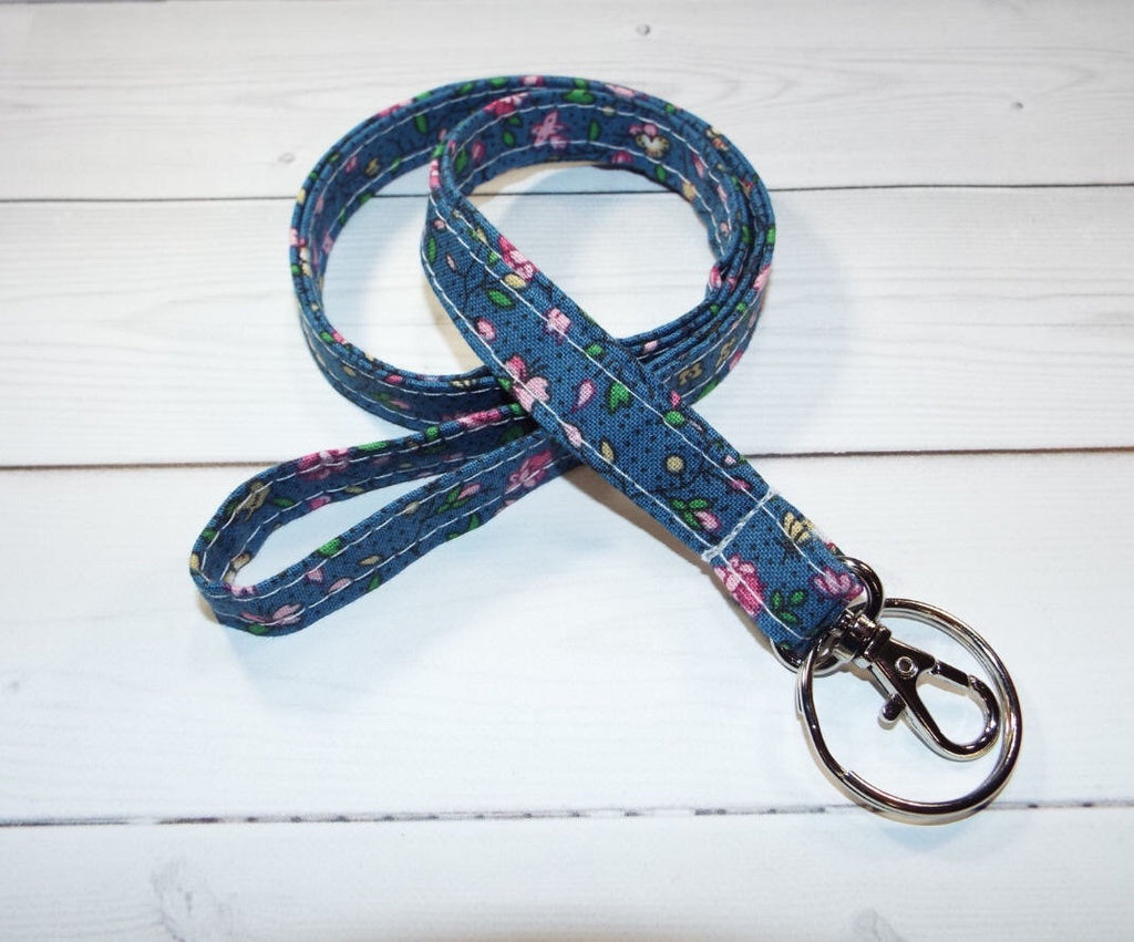 Skinny lanyard tiny blue flowers floral - In His Name
