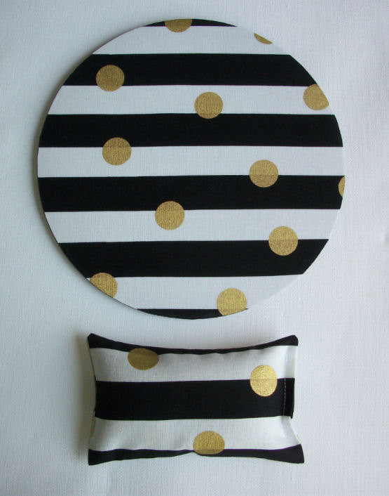 metallic gold desk set - mouse pad and wrist rest - black and white stripes with metallic gold dots - mousepad set coworker gift Desk cubical Accessories - In His Name