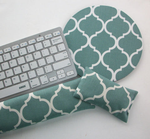 Mouse pad, keyboard rest, and mouse wrist rest set - spa trellis quatrefoil coworker desk cubical office accessories - In His Name