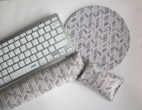 Mouse pad, keyboard rest, and mouse wrist rest set - 2 tone gray herringbone - coworker desk cubical office accessories - In His Name