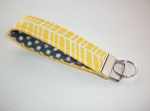 Key FOB / KeyChain / Wristlet key strap - yellow herringbone with white polka dots on gray - gift for her under 10 - In His Name