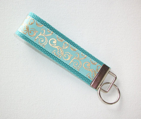 Key FOB / KeyChain / Wristlet - metallic gold mint scrolls - bridesmaid - friend gift - coworker - In His Name