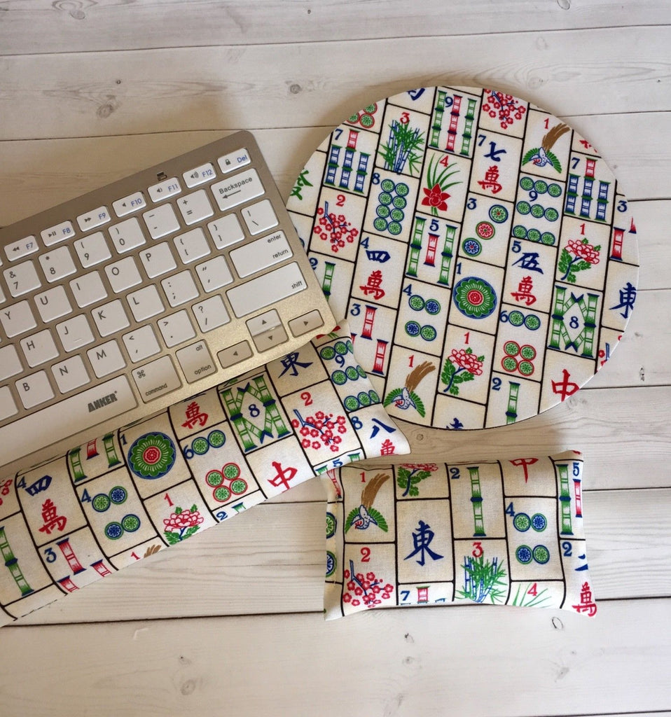 Mahjong mouse pad, mousepad keyboard rest, and mouse wrist rest set -   coworker desk cubical office accessories