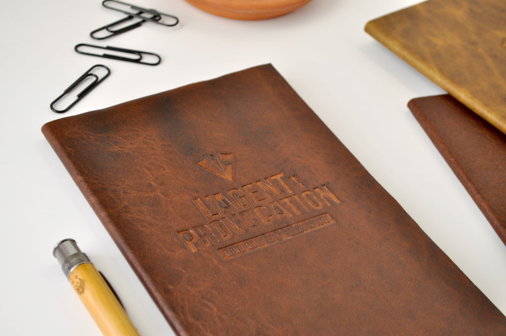 Leather notebooks journals with custom embossed logo imprint