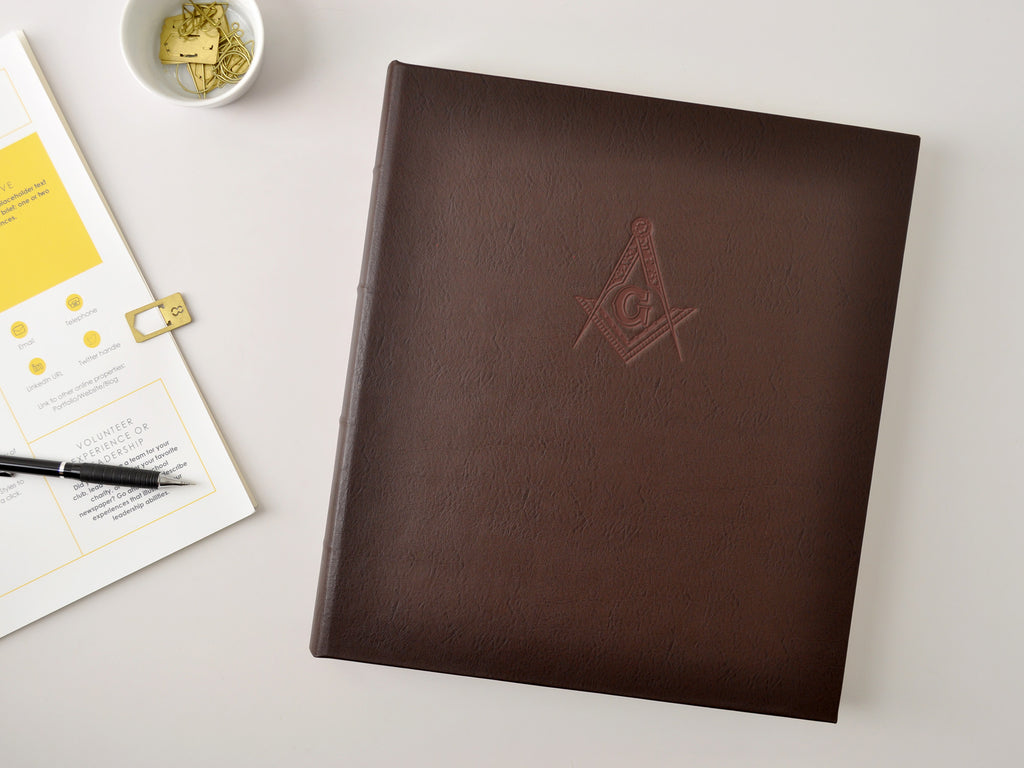 Gallery Leather presentation binder with custom embossed logo imprint