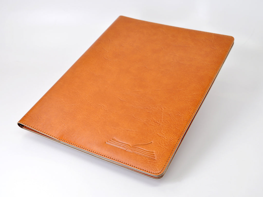Tan Italian leather portfolio with custom logo embossing imprint