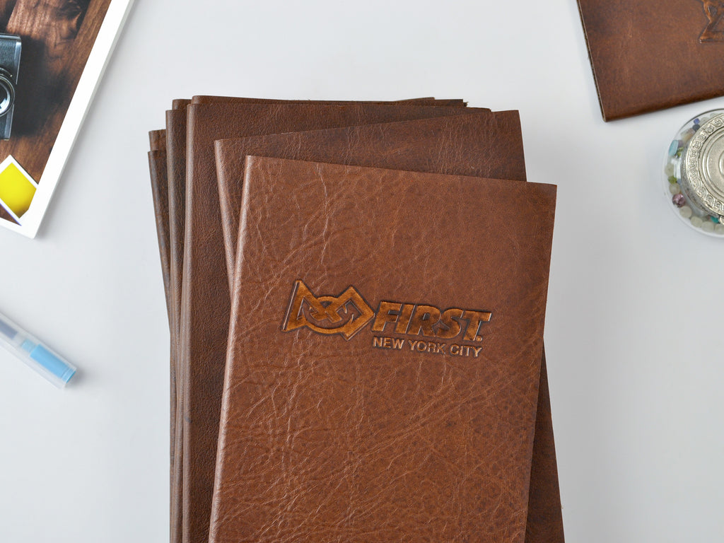 Jenni Bick Minimalist slim leather slim journal, custom logo embossing imprint