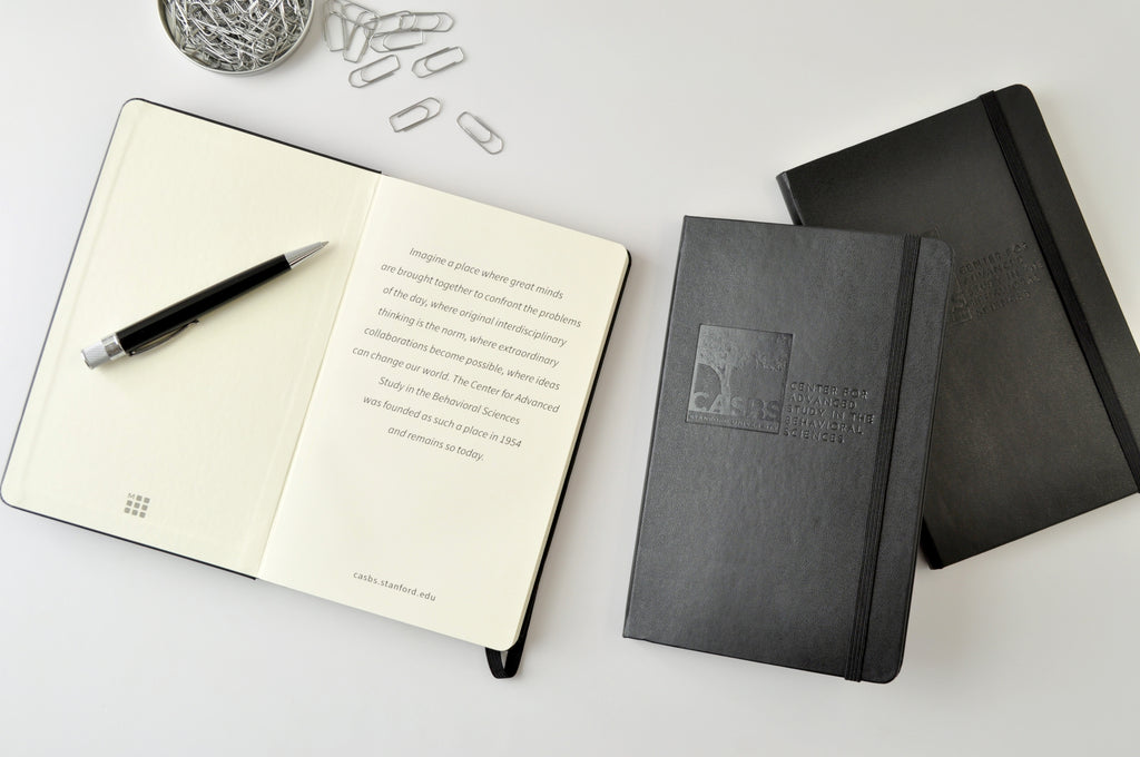 Moleskine hardcover notebook, black with custom logo