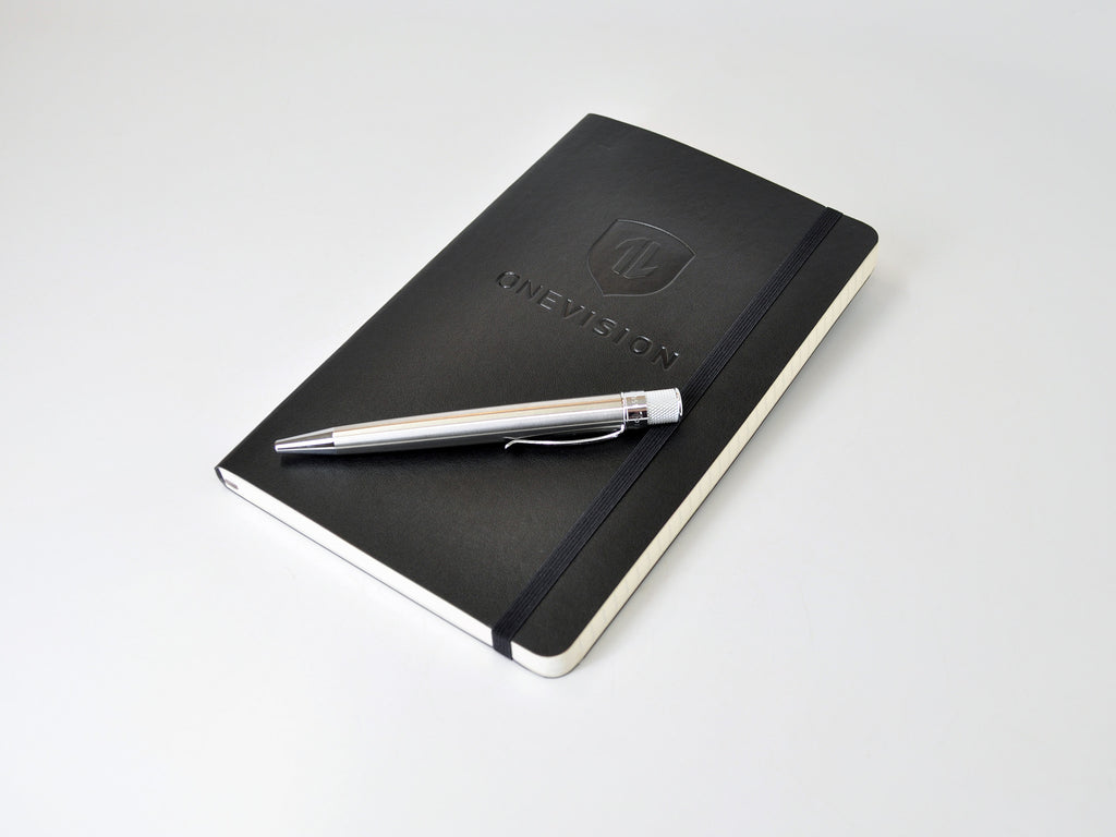 Moleskine softcover with custom embossed logo