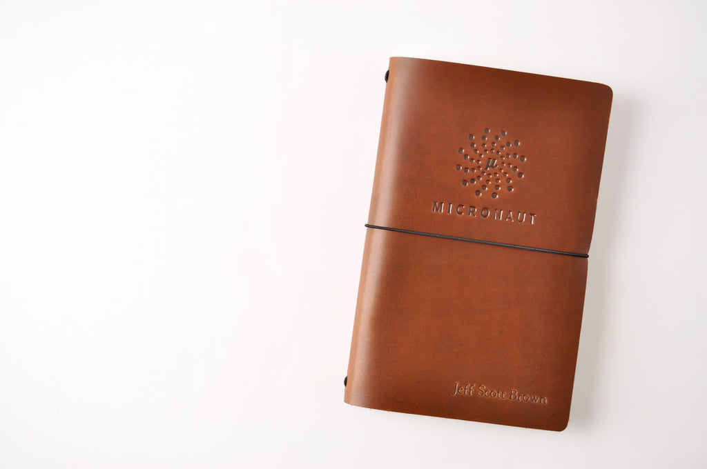 custom logo embossed refillable leather traveler's journal - jb custom journals