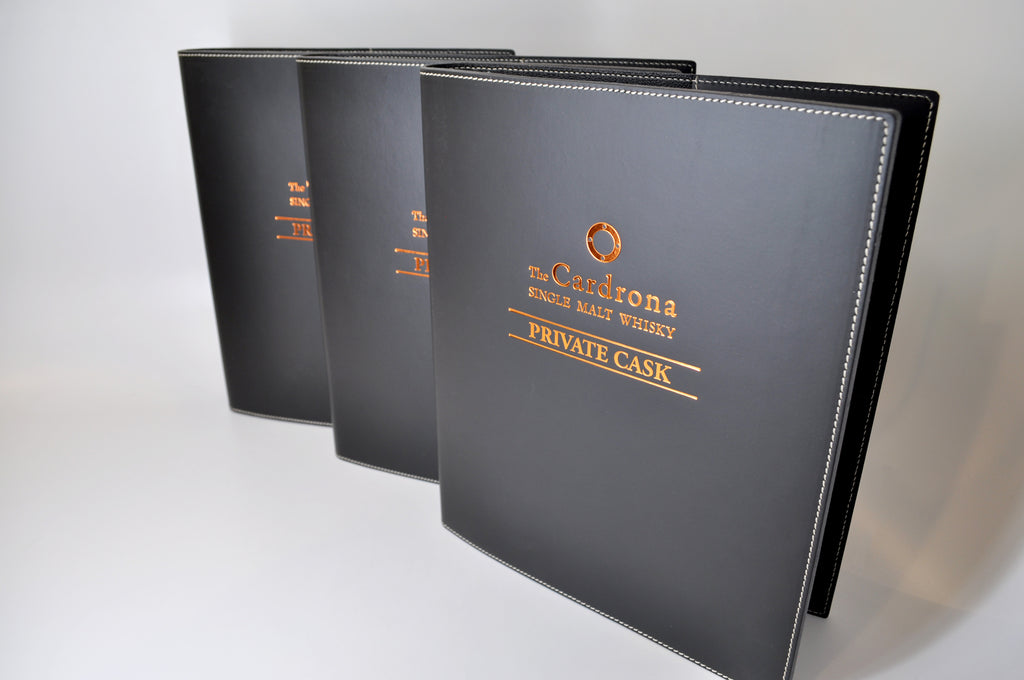 Black leather binder with custom foil logo embossing imprint