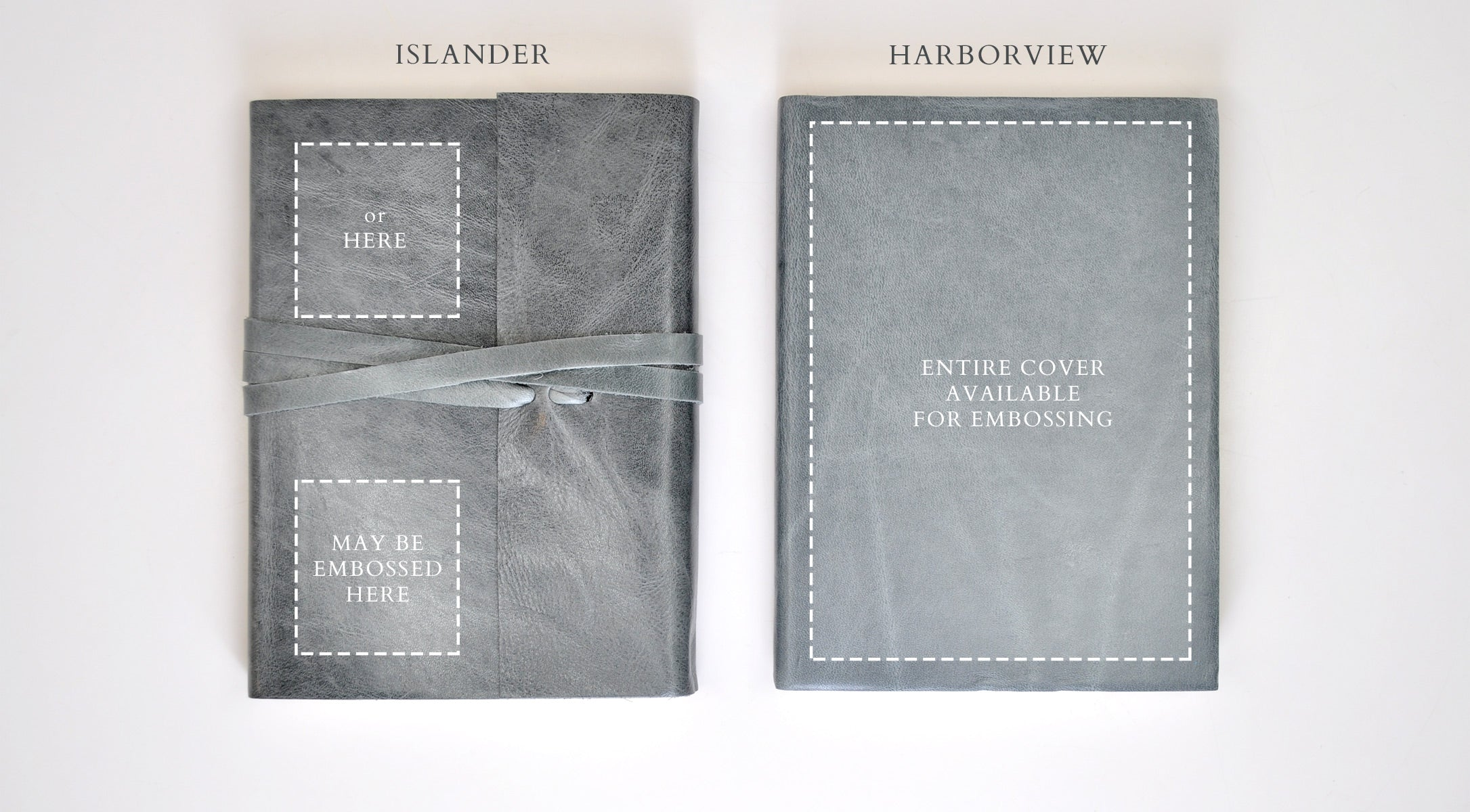 Areas available for embossing on Harborview and Islander Leather Journals.