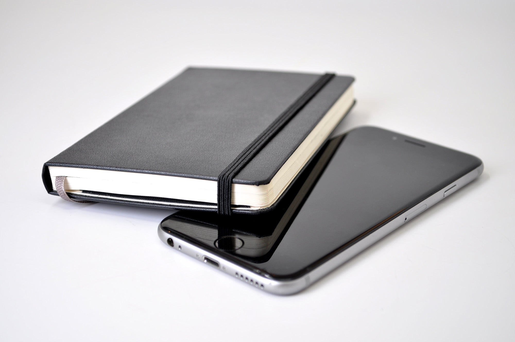 pocket Moleskine hardcover and iphone smartphone size