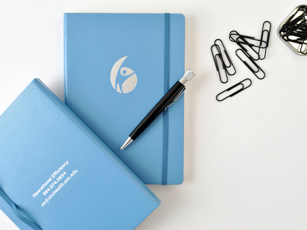 Leuchtturm 1917 hardcover notebooks nordic blue with silver embossed logo imprints