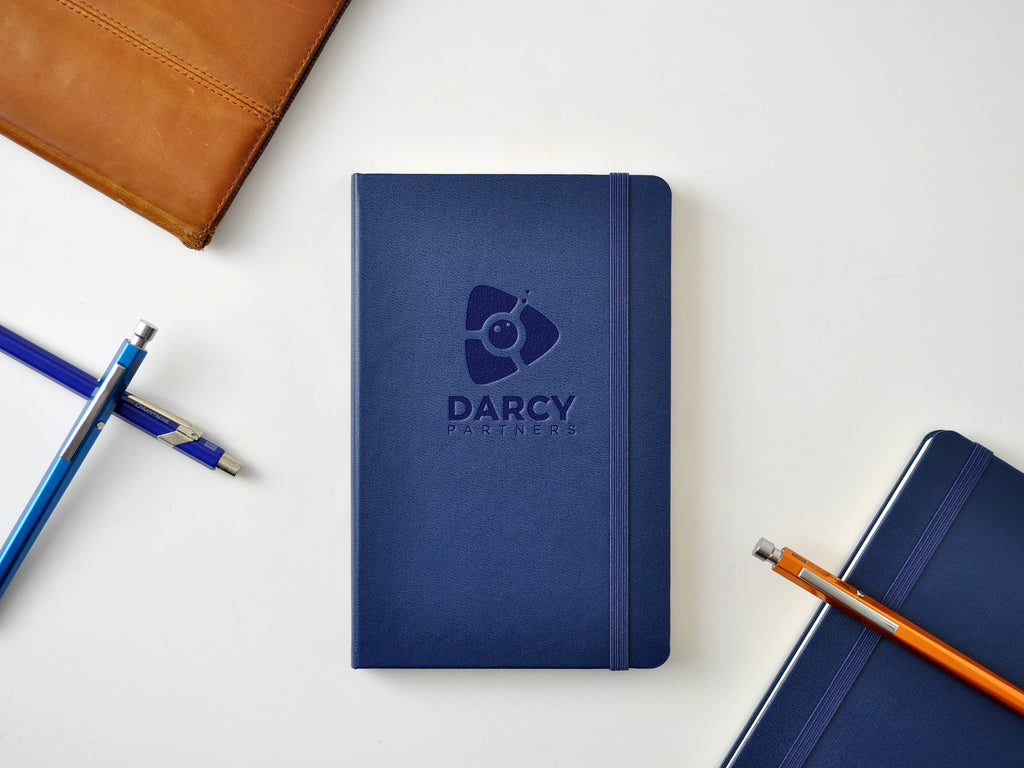 Darcy Partners logo embossed notebooks, imprinted moleskine sapphire blue hardcover