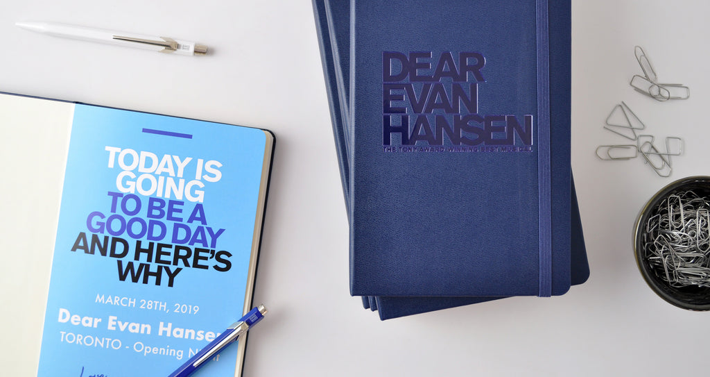 Talenthouse notebooks for musical Dear Evan Hansen with custom logo embossed and custom page insert