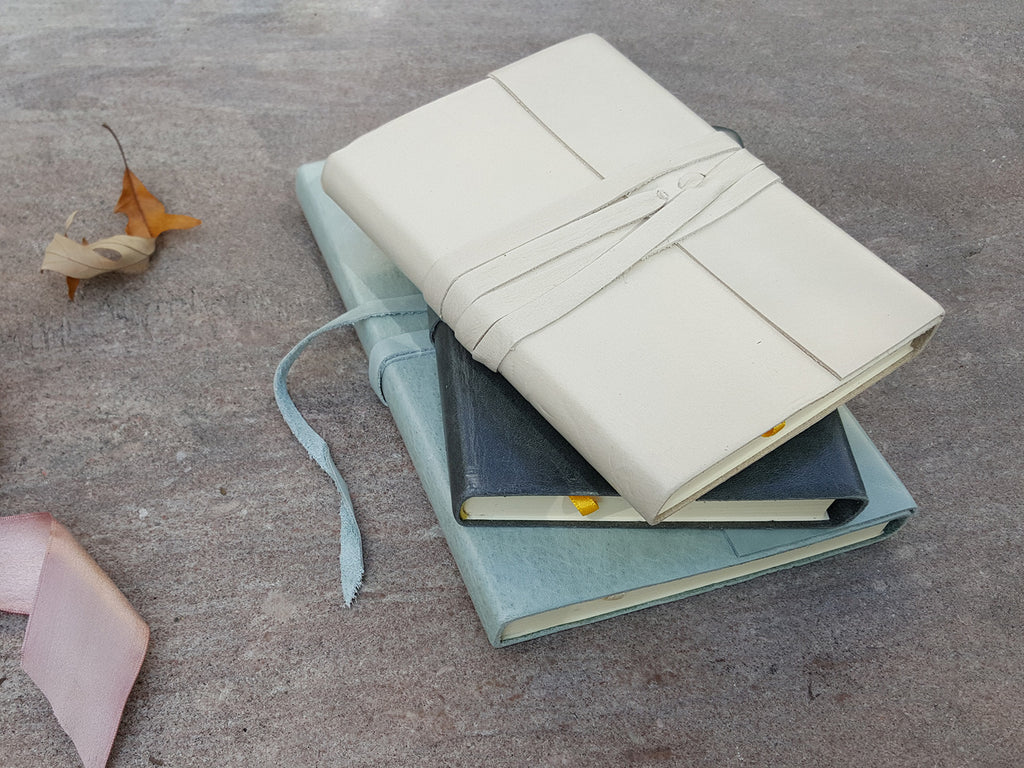 Islander Leather Journal With Wrap - Ivory-Notebooks-JB Custom Journals