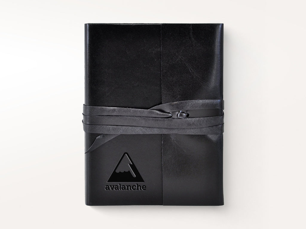 Islander Leather Journal With Wrap - Black-Notebooks-JB Custom Journals