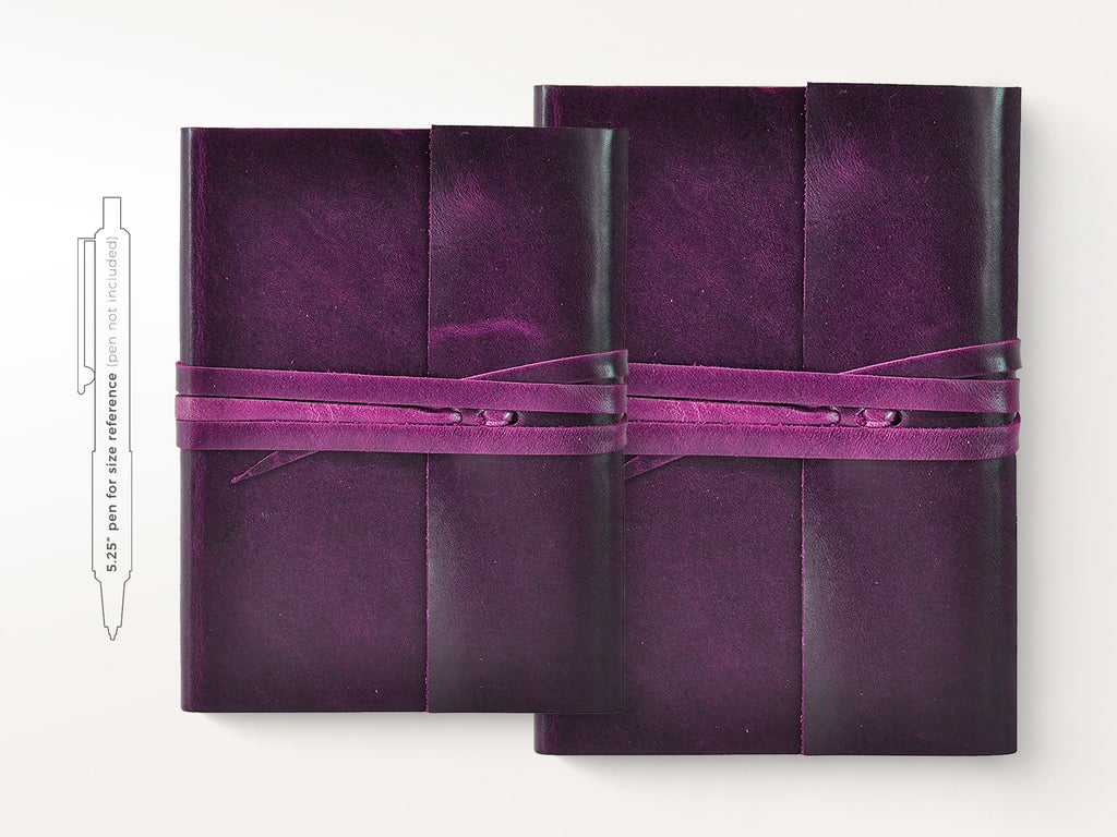 Islander Leather Journal With Wrap - Violet-Notebooks-JB Custom Journals