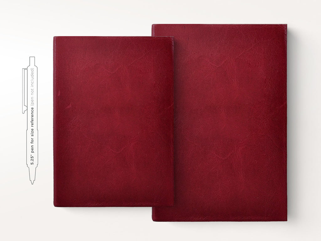 Harborview Leather Journal - Cranberry-Notebooks-JB Custom Journals