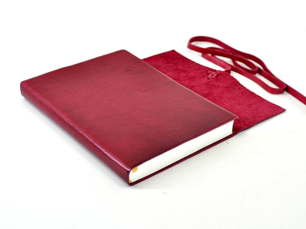 Islander Leather Journal With Wrap - Cranberry-Notebooks-JB Custom Journals