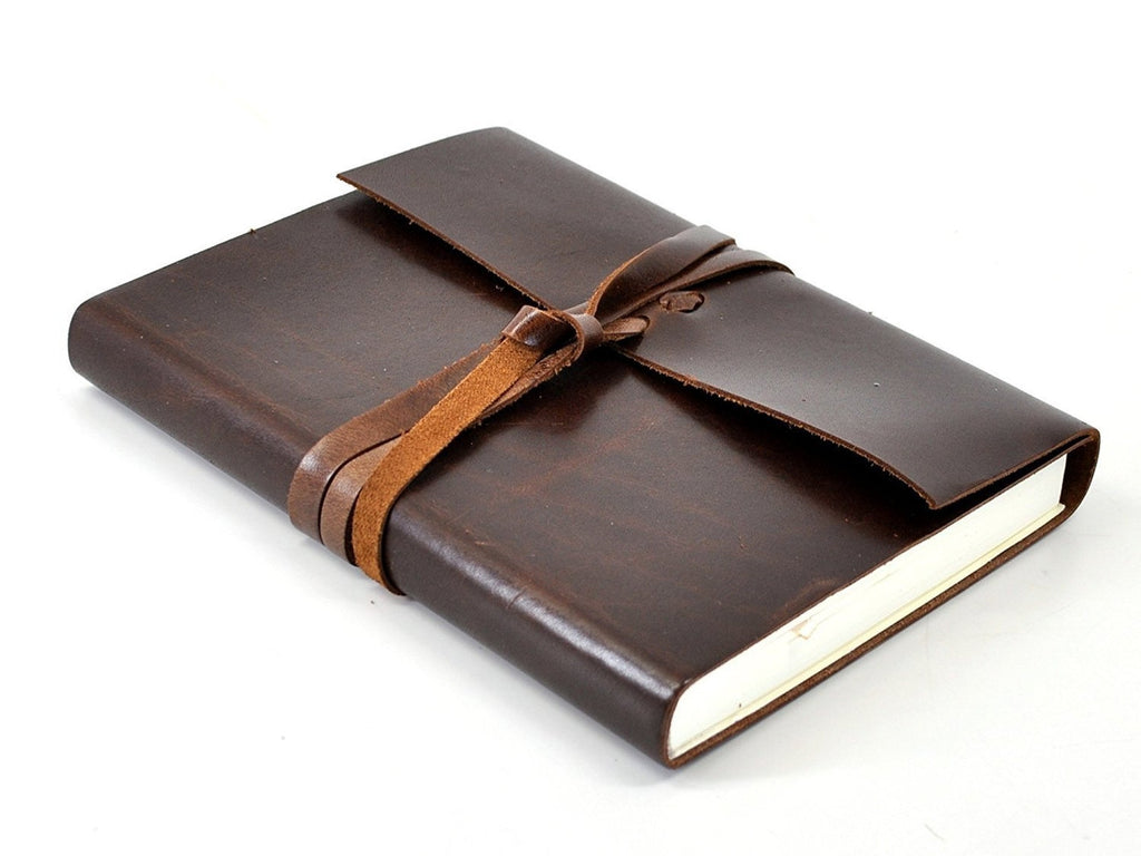 Islander Leather Journal With Wrap - Mocha-Notebooks-JB Custom Journals