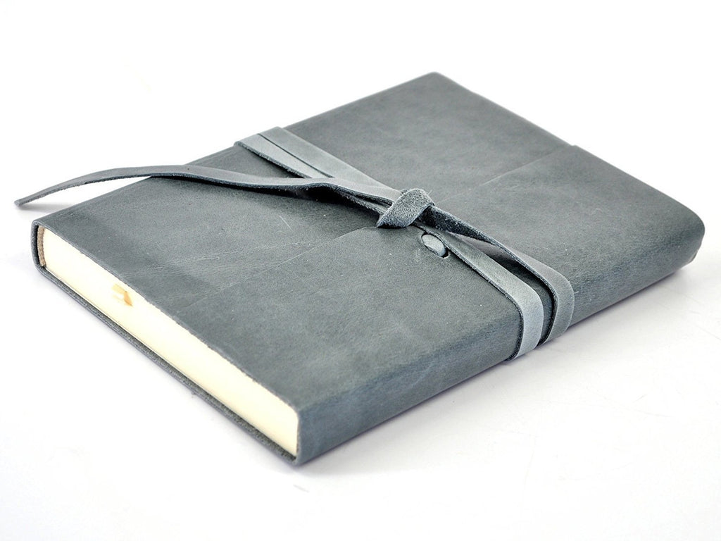 Islander Leather Journal With Wrap - Slate-Notebooks-JB Custom Journals