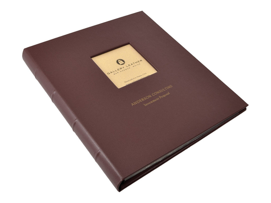 Leather Presentation Binder + Window - Standard-Notebooks-JB Custom Journals