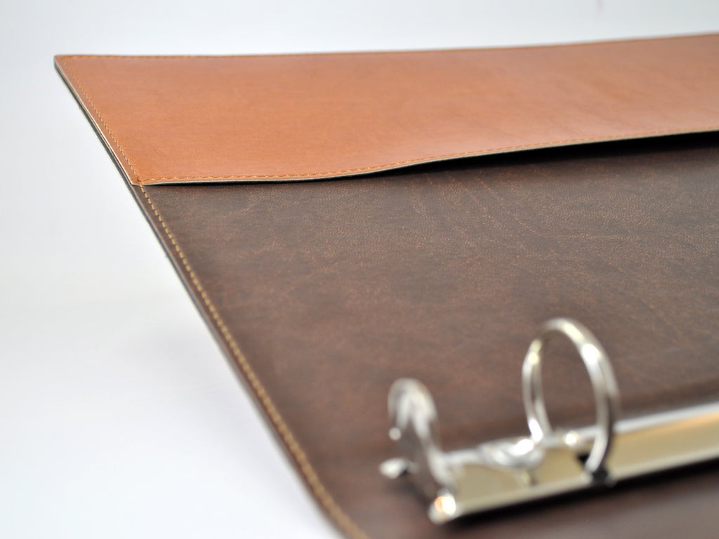 Chelsea Italian Leather 3-Ring Binder - Tan