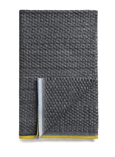 Dark Charcoal baby blanket, in a traditional basketweave knit.  Made in Australia from Egyptian cotton. The design a mixed, dark grey melange with a thin strip of pale blue and yellow along each edge.