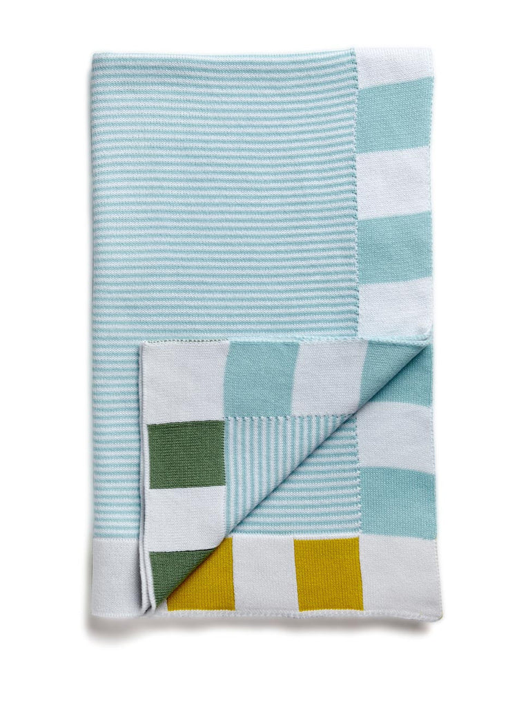 Stripes! Egyptian Cotton Baby Blanket Duck Egg Blue