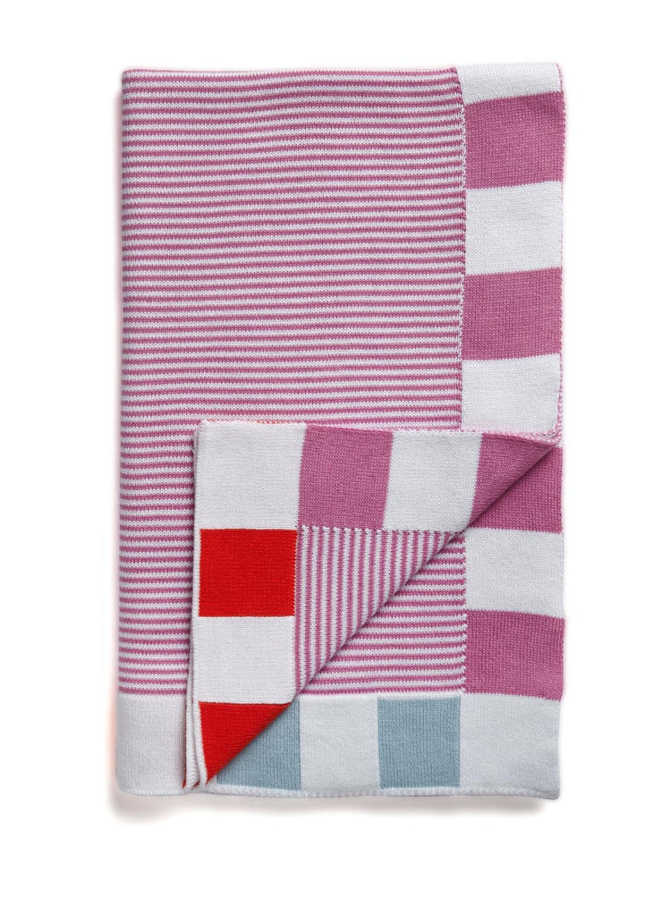 Pink baby blanket, Made in Australia from Egyptian cotton The design is striped pink with a trim of bright orange and pale blue.