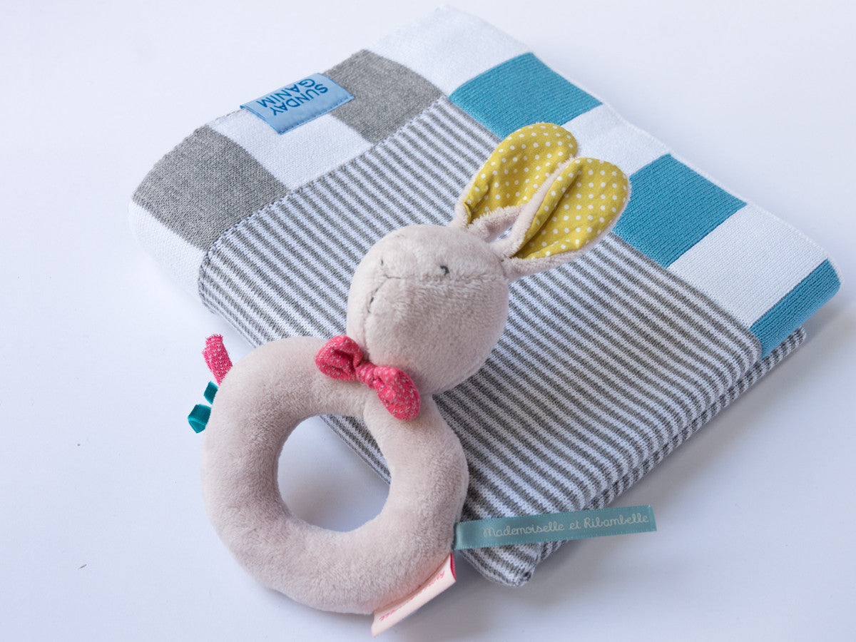 Moulin Routy Baby slippers and blanket gift packs