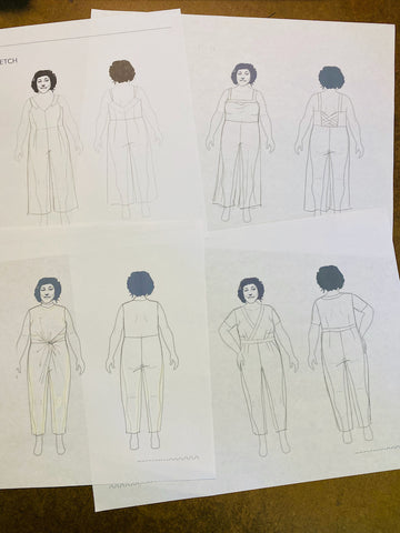Four pencil sketches of various jumpsuit designs are drawn over a light outline of a body.