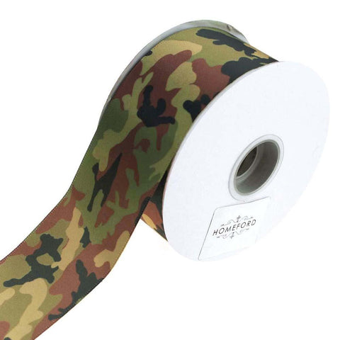 Camouflage Satin Ribbon, Green, 1-1/2-Inch, 3-Yard