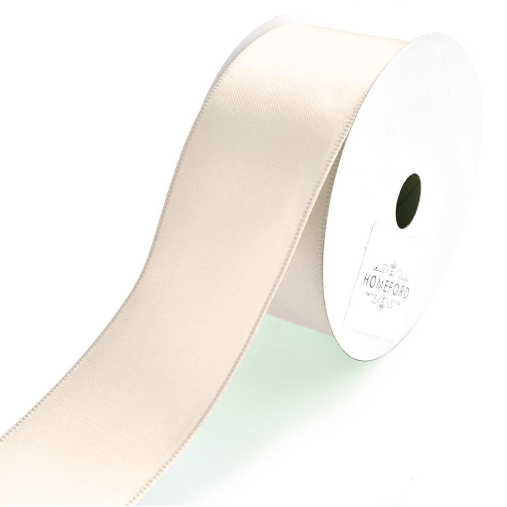 Single Faced Wired Edge Satin Ribbon, 1-1/2-Inch, 3-Yard, Ivory
