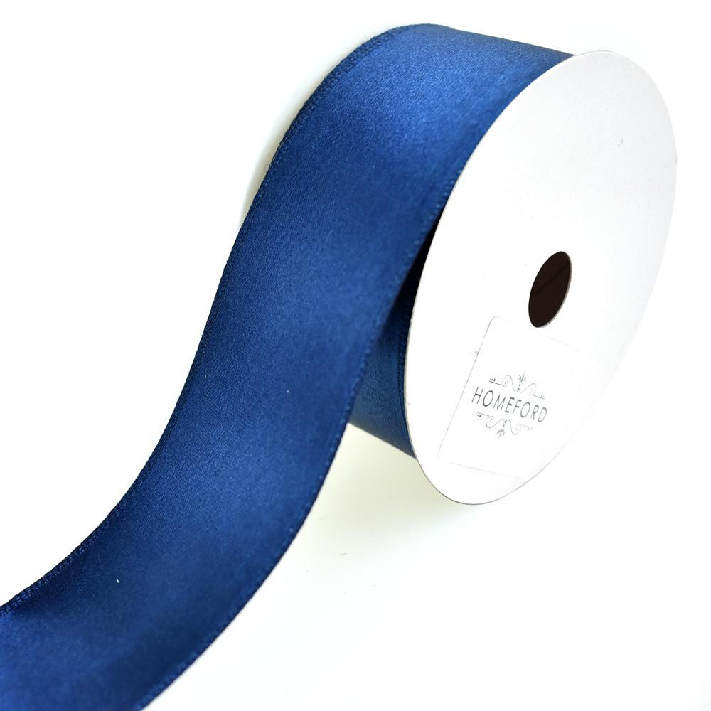 Single Faced Wired Edge Satin Ribbon, 1-1/2-Inch, 3-Yard, Navy Blue