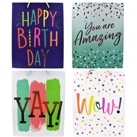 Birthday Party Hot Stamped Premium Gift Bags, 12-3/4-Inch, 4-Piece