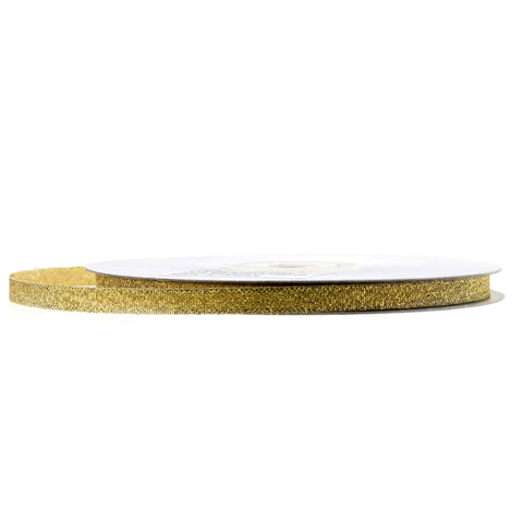 Metallic Taffeta Christmas Ribbon, 1/4-inch, 25-yard, Gold