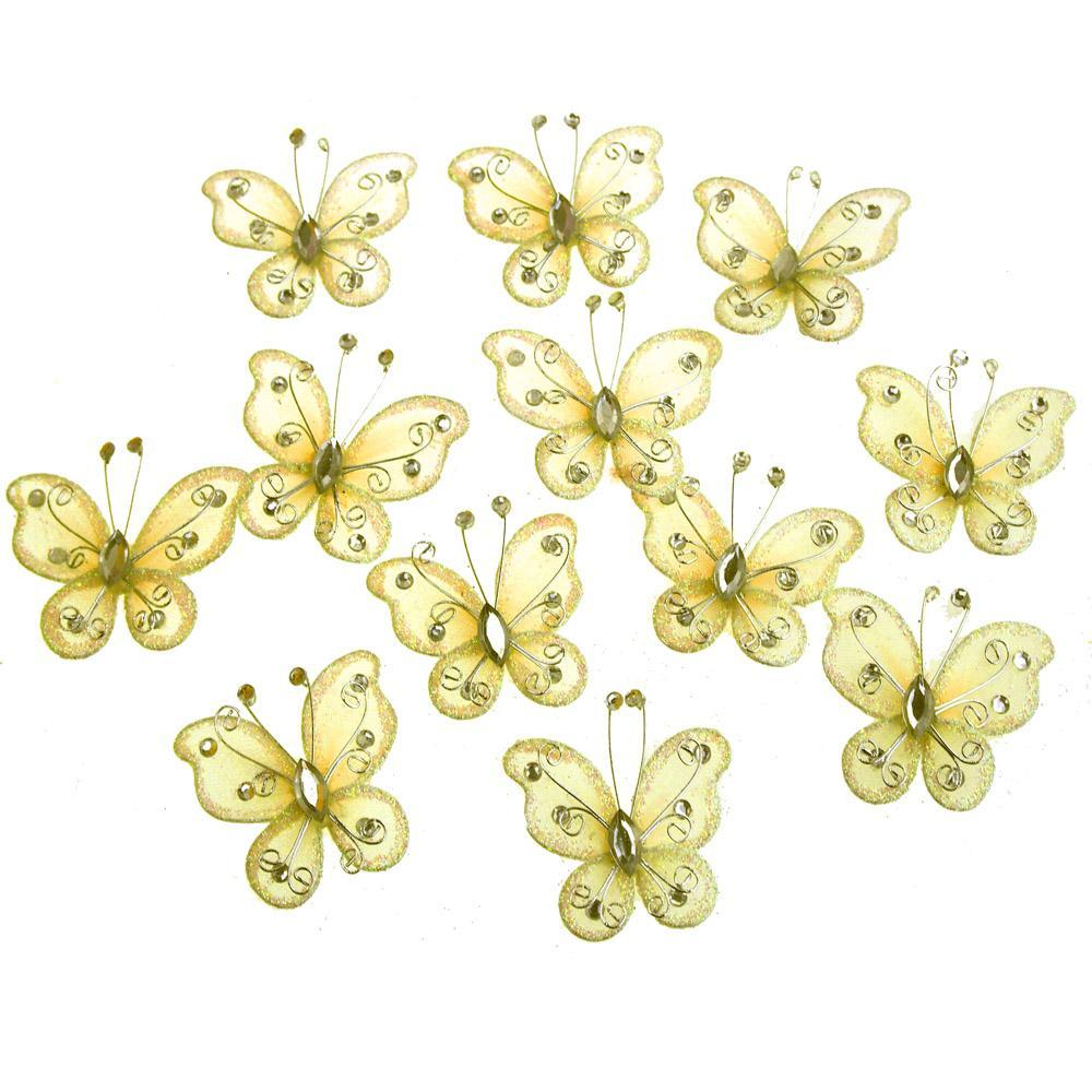 Organza Nylon Glitter Butterflies, 1-inch, 12-Piece, Yellow