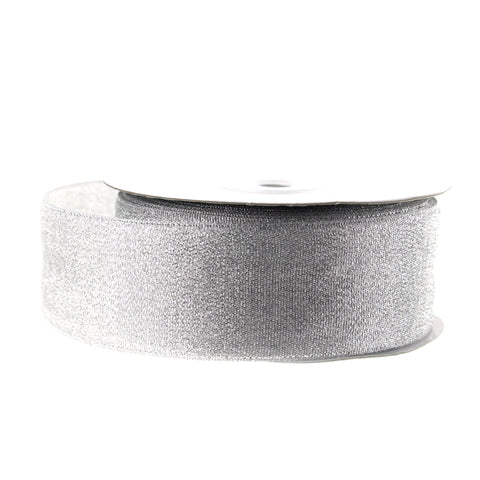 Metallic Taffeta Christmas Ribbon, 1-1/2-inch, 25-yard, Silver