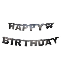 """Happy Birthday"" Letter and Bow Banner, 4-1/4-Inch, 5-Feet"