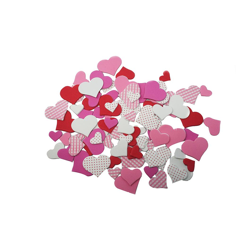 Foam Valentine's Day Heart Stickers, 90-Piece