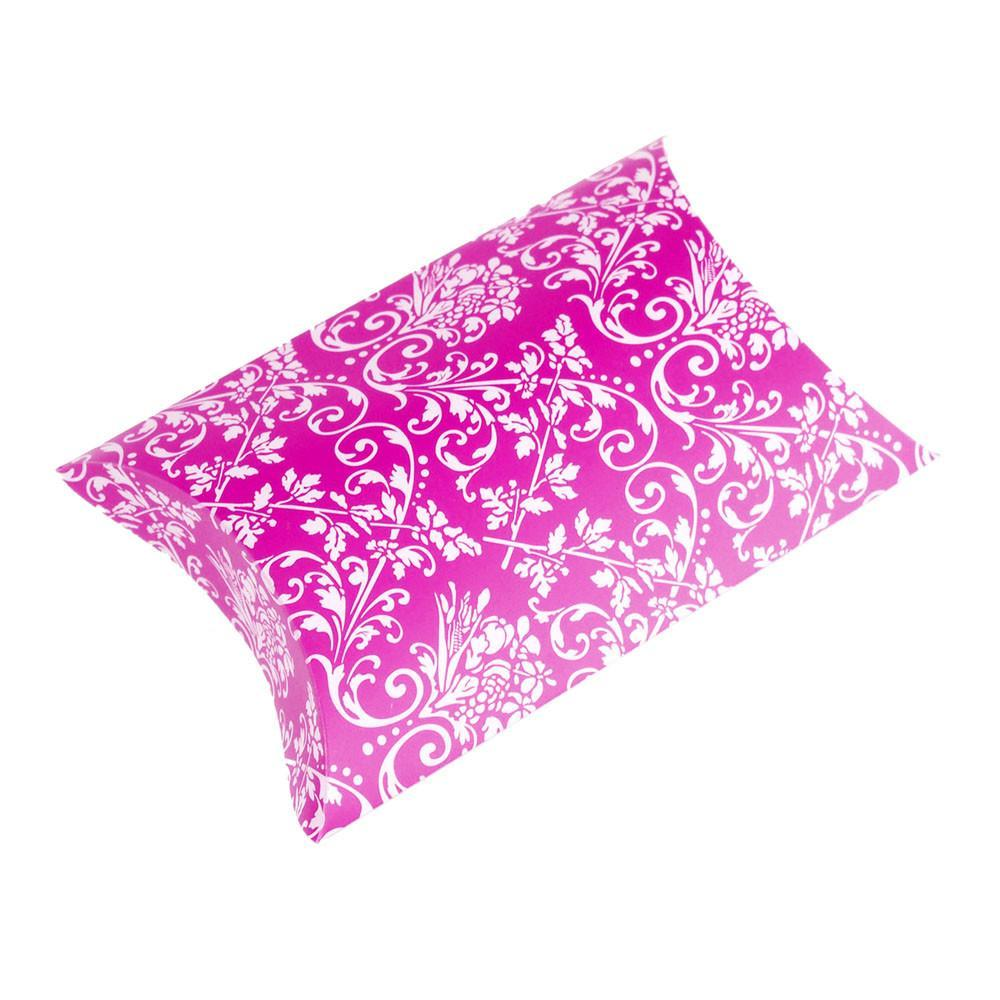 Damask Pillow Boxes Favors, 3-Inch, 12-Piece, Hot Pink