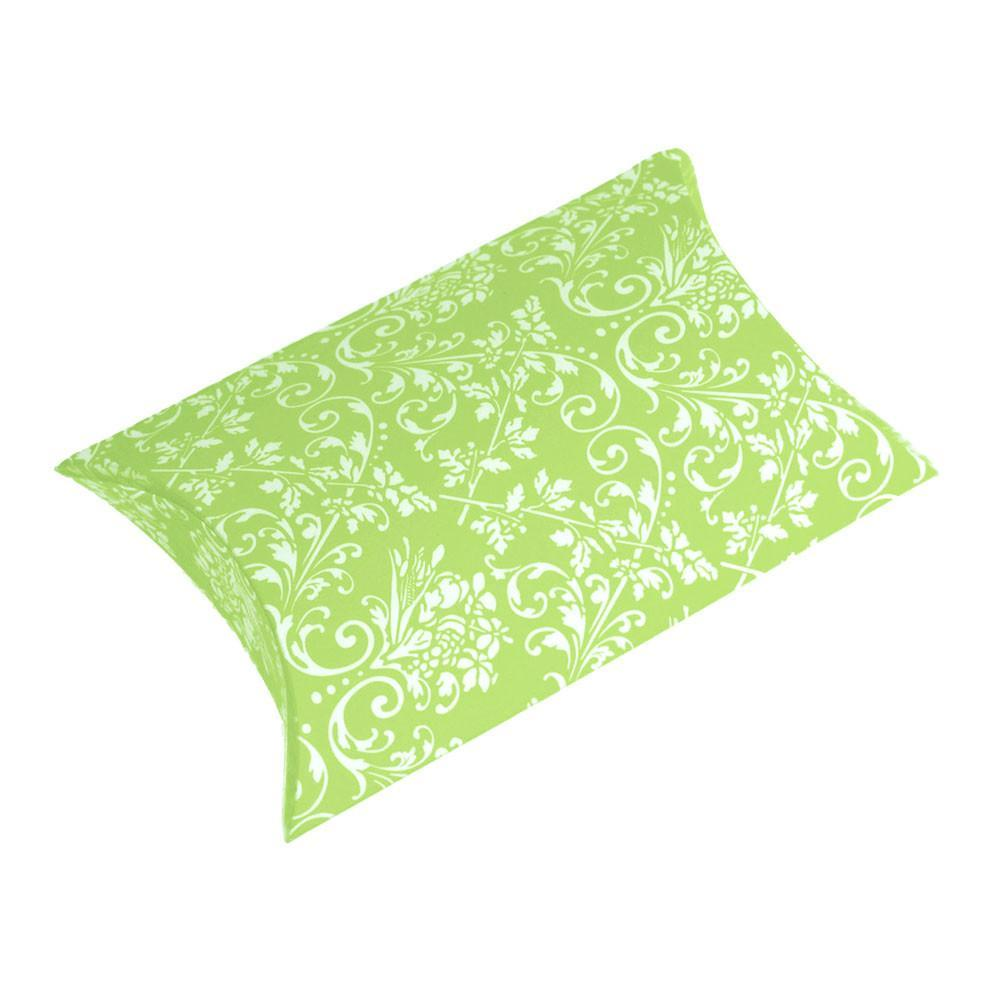 Damask Pillow Boxes Favors, 3-Inch, 12-Piece, Apple Green
