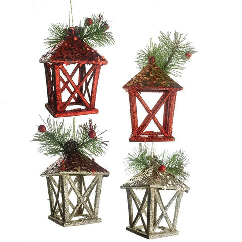 Christmas Glitter Lantern Ornaments, Red/Champagne, 5-Inch, 4-Piece