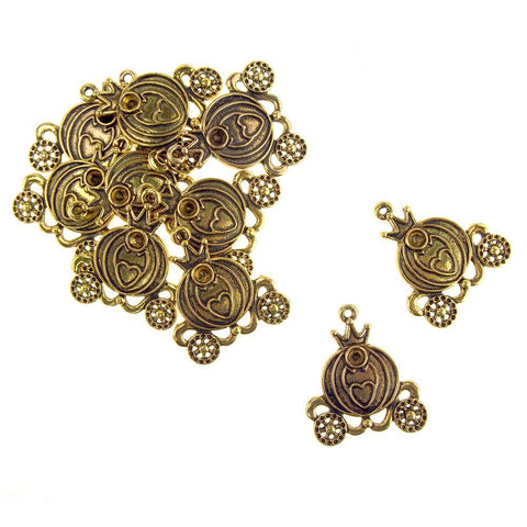 Antique Style Metal Princess Carriage Charms, Gold, 1-1/2-Inch, 10-Piece